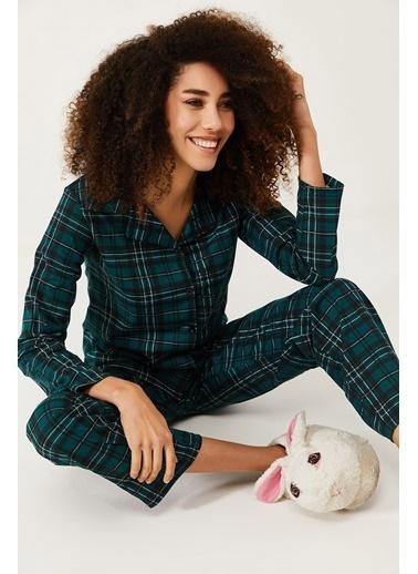 XHAN Zümrüt Yeşili Kareli Örme Pijama Takımı  Yeşil